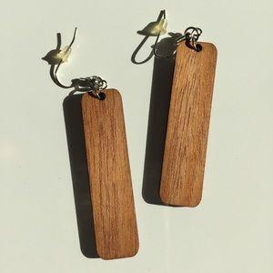 Jewelry - •new• Mahogany Wood Earrings